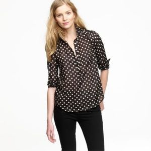 J.Crew Women's Black Polka Dot Popover Silk Blend